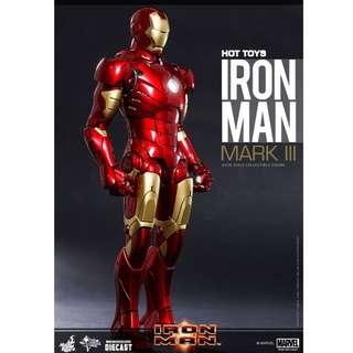 全新Hottoys ironman mark 3 diecast 1/6 普通版 啡盒未開