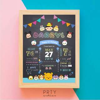 TSUM TSUM FIRST BIRTHDAY MILESTONE CHALKBOARD (BOY)