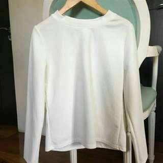White ribbed top long sleeves