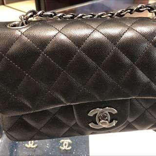 Chanel Cf 20cm classic flap 新閃粉牛皮銀鏈