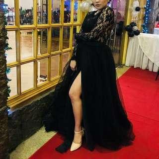 Designer's Black Lace Tulle Gown