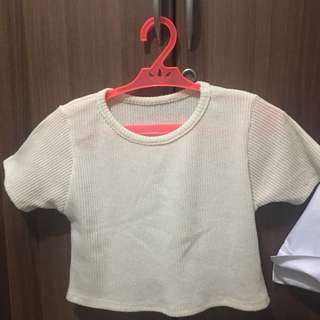 Ribbed Knitted Crop Top (Cream)
