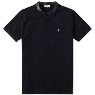 Saint Laurent SL Leather Collar Polo