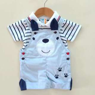 2pcs Stripes collar shirt with sling bear jumper