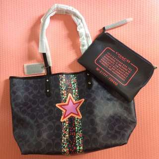 coach varisty stripe reversible city tote, star motif 雙面星星手挽袋
