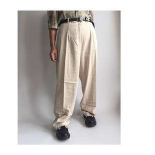 Beige Plaid Trousers