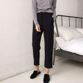 很挺 顯瘦褲管小開衩西裝褲