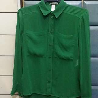 H&M green l/s top