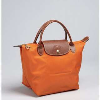Longchamp le pliage short handle orange #MidJan55