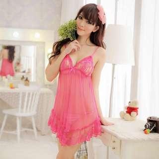 全新 桃紅美人魚尾蕾絲透視吊帶睡裙 100%new 連獨立包裝袋