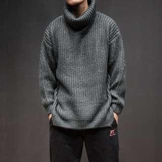 🚚 FRANK'S日本特進-素色 造型高領 寬鬆 圍領毛衣 純棉 針織 毛衣 不過敏 復古 套頭毛衣 彈性 男女 有大尺碼