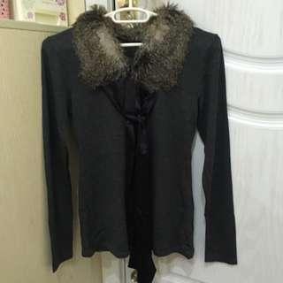 毛領黑薄衣