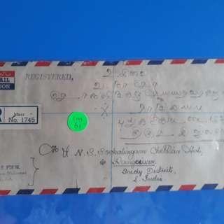 MALAYA - 1960 - MUAR, JOHORE TO india vintage Postal History Cover -  im61
