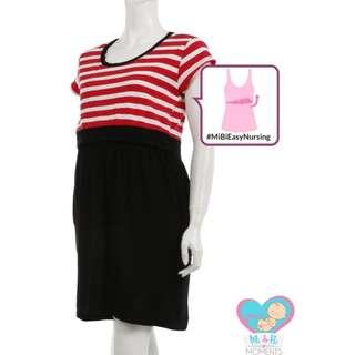 Mi & Bi Moments Comfy-Mi Maternity and Nursing Half-Striped Modal Dress - Ruby Red-Black