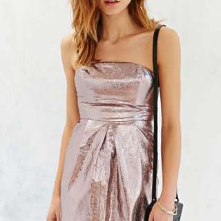 Gorgeous Pink Foil Strapless Dress