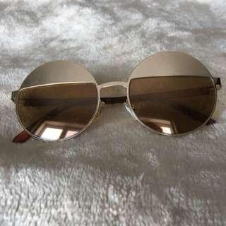 Gold Half Rimmed Round Sunglasses