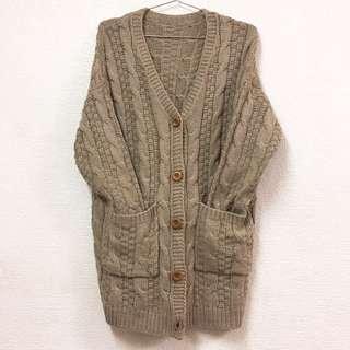 DoubleM🦄️ 日系針織麻花雙口袋開衫外套(特價)