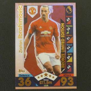 16/17 Match Attax Extra BRONZE Limited Edition - Zlatan IBRAHIMOVIC #Manchester United 曼聯