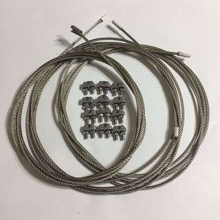 鋼索 Steel Cables (3 pcs) 連12個夾 with 12 Clips