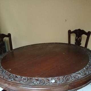Meja makan besar bekas full jati kursi 4..1 set wa 085883971807