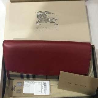 Burberry Horseferry Check and Leather Continental Wallet - Parade Red