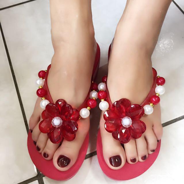 二手花朵珠飾夾腳拖-24號