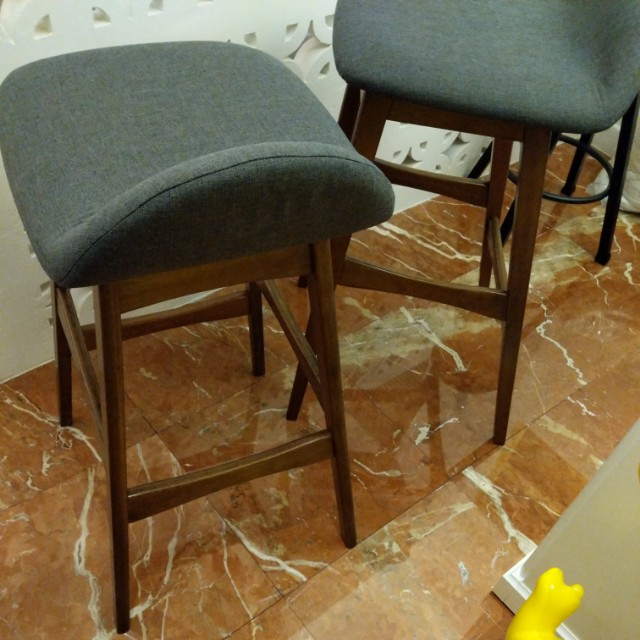 Admirable 2 X Scandi Design Bar Stools In Dark Walnut Grey Bralicious Painted Fabric Chair Ideas Braliciousco
