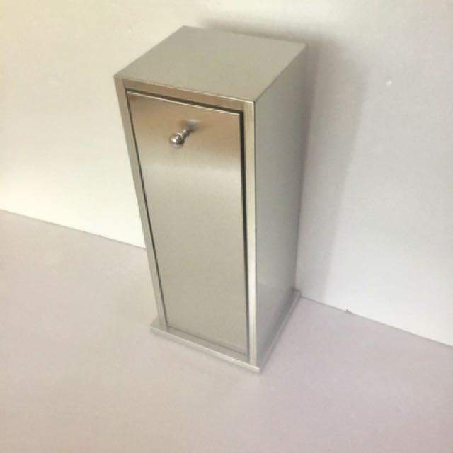 430不銹鋼砂面備用衛生紙卷箱/落地、鎖壁雙用途