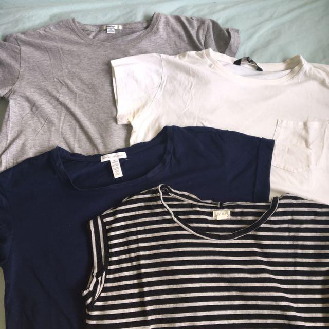 4 x cropped basic T shirts!