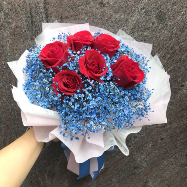 6 red roses with blue baby breath Hand Bouquet