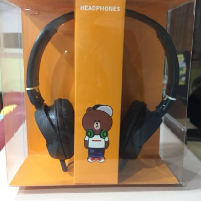 (有問有優惠,可7-11取貨付款,目前剩兩組,加送隨身碟,詳如說明)全新Line熊大版耳罩式耳機