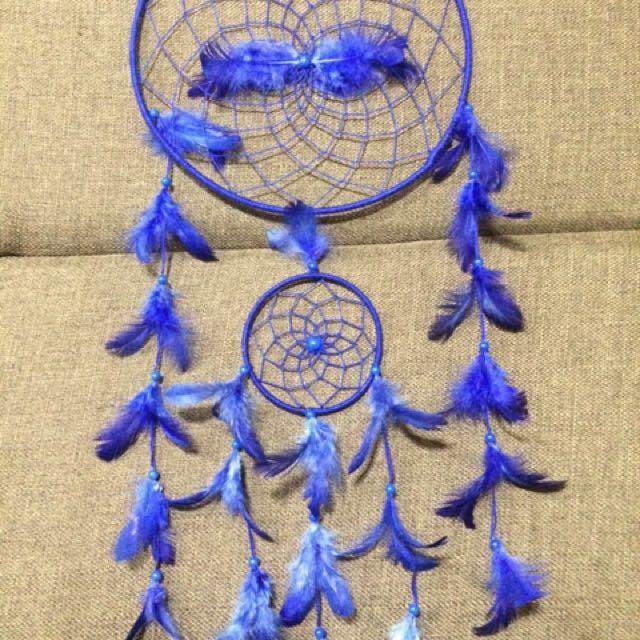 7 inch blue dreamcatcher handmade