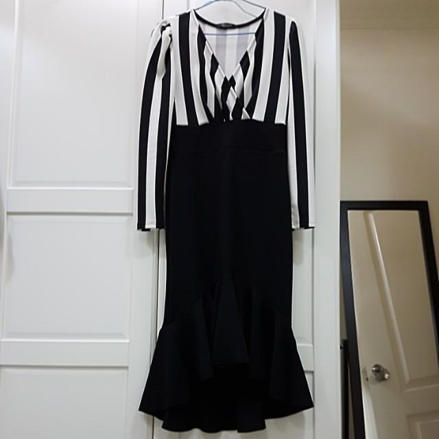 條紋魚尾洋裝