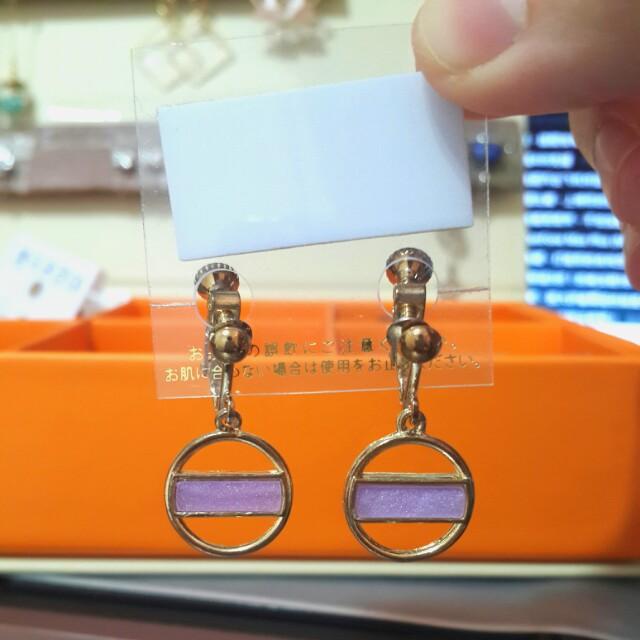 夾式耳環(氣質粉紫)