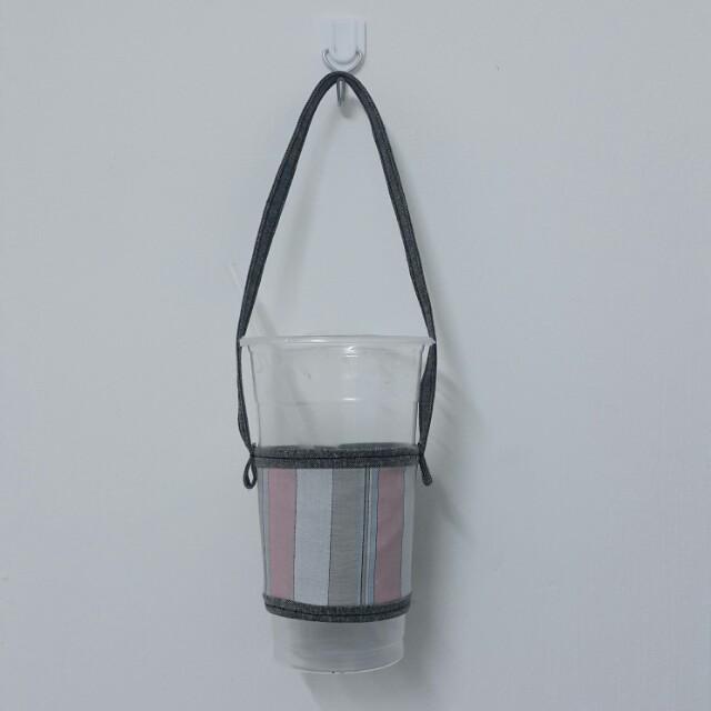 手作條紋撞色環保杯袋環保杯套
