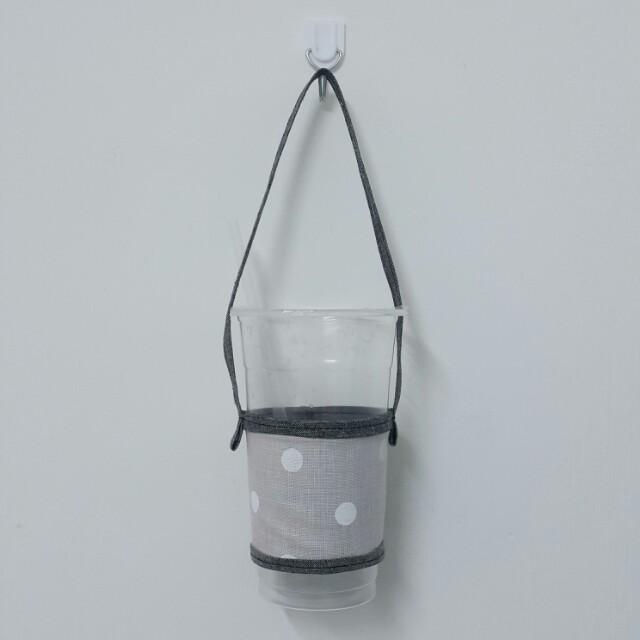 手作藕粉色白點圓點點環保杯袋環保杯套