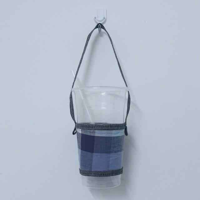 手作藍色格子撞色環保杯袋環保杯套