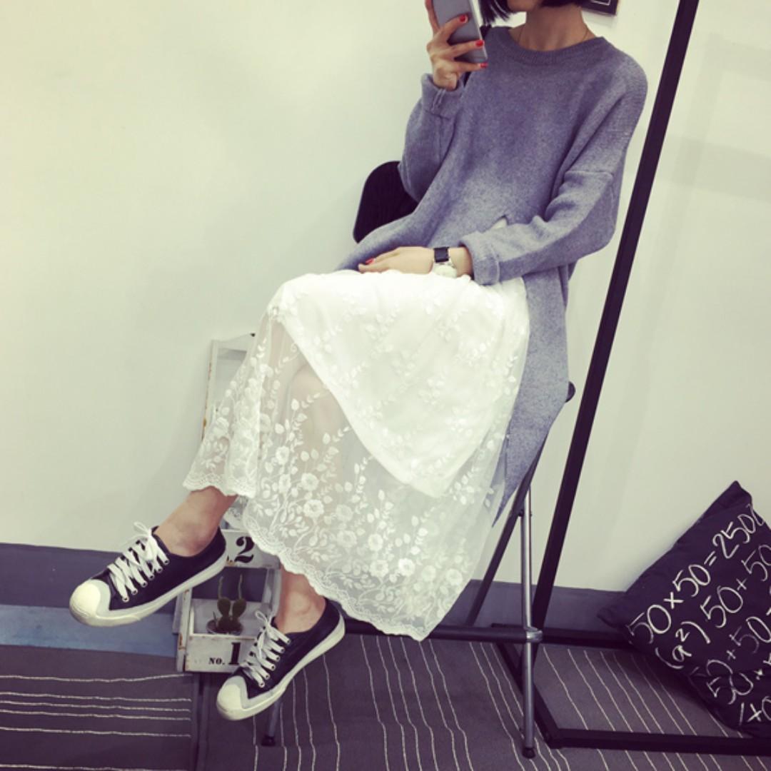 (黑.白)韓版長款甜美蕾絲拼接背心裙內搭連衣裙