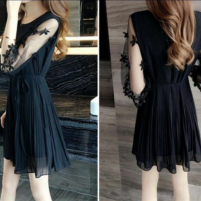 雪紡洋裝/蕾絲/黑色