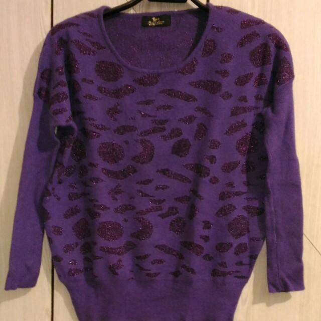 紫色豹紋毛衣