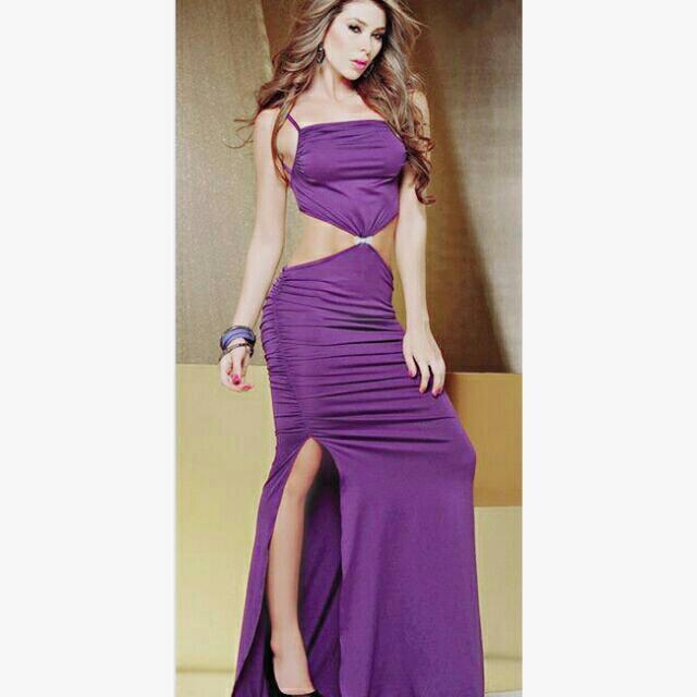 紫色露腰晚禮服