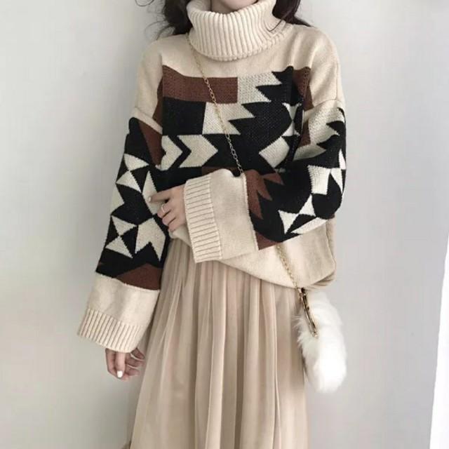 簡約拼色高領針織毛衣