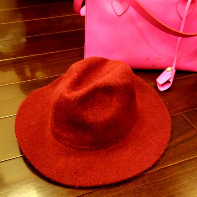 冬季日韓雜誌款酒紅造型羊毛帽