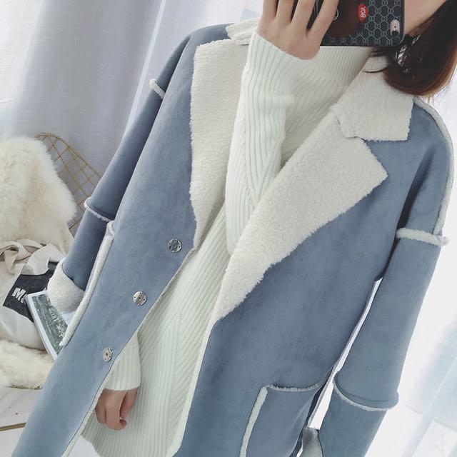 韓國 皮毛一體仿羊毛長款保暖羊羔毛外套繭型大衣