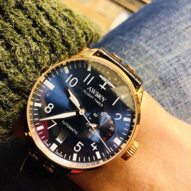 全新大飛款 自動上鍊瑰金名錶