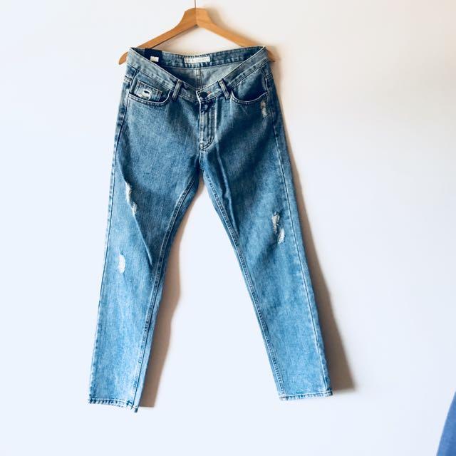正韓製 復古藍 水洗破壞牛仔褲 約30腰適穿