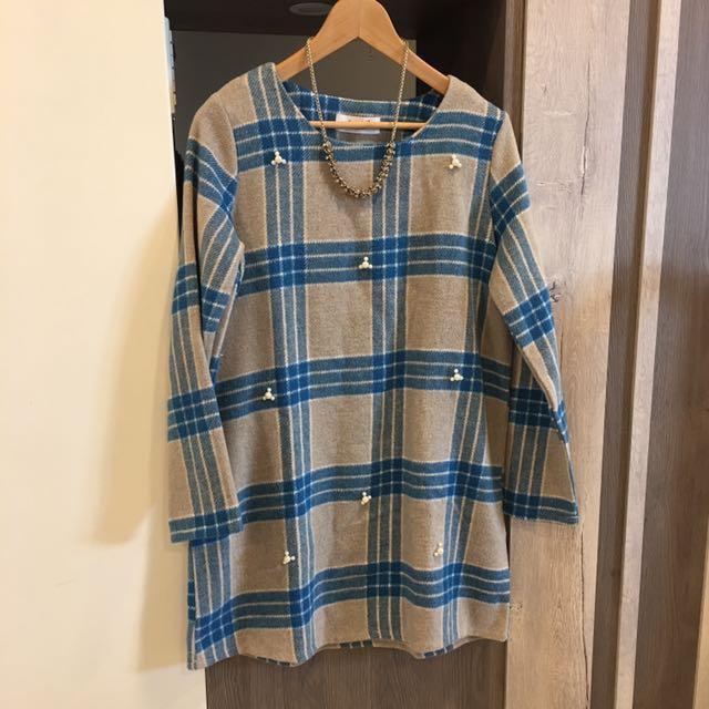 (全新)韓製 珍珠 格紋 長版衣