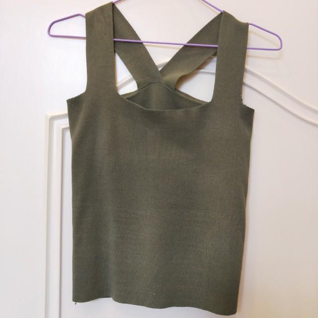 軍綠 百搭 基本款 針織背心 彈性加
