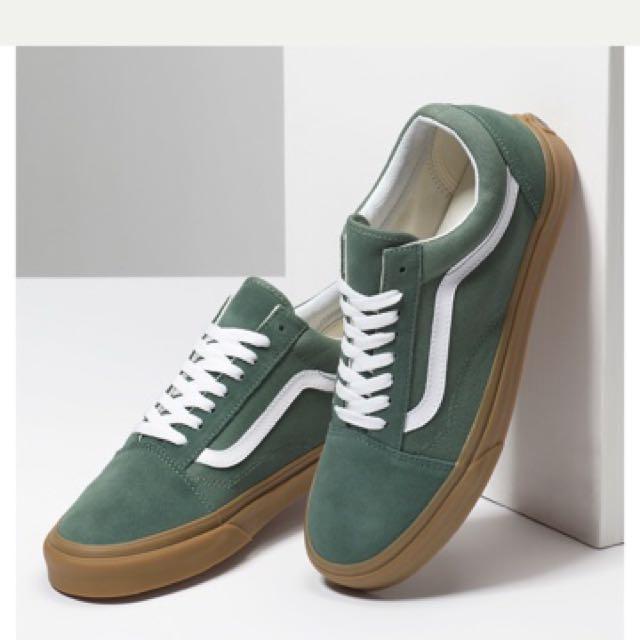 vans gum old skool green