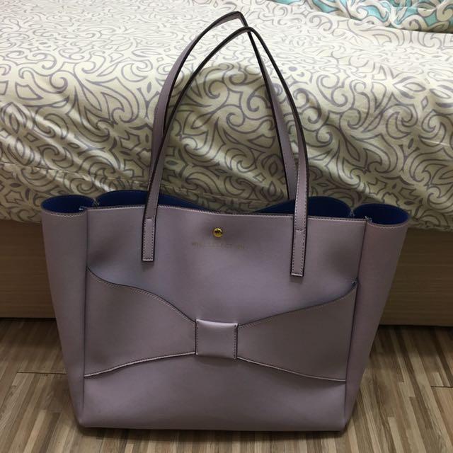 日本品牌 willselection  粉紫色蝴蝶結大方包